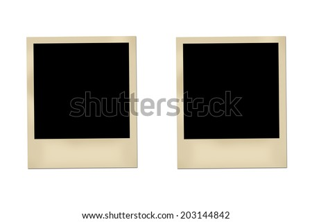Blank photos isolated on white background.
