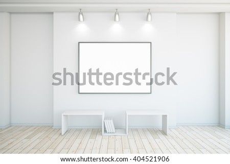 Blank picture frame in concrete interior with wooden floor. Mock up, 3D Rendering - stock photo