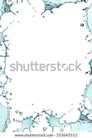 Blank picture frame made from splashing water - stock photo