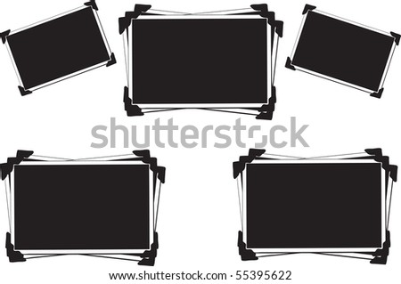 Blank Picture frames with photo corners isolated on white