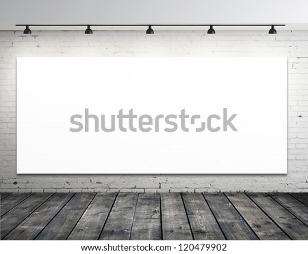 blank picture on wall in grunge room - stock photo