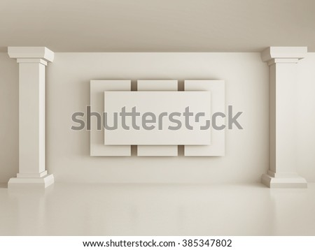blank picture or photo frame with white wall columns. 3d render illustration