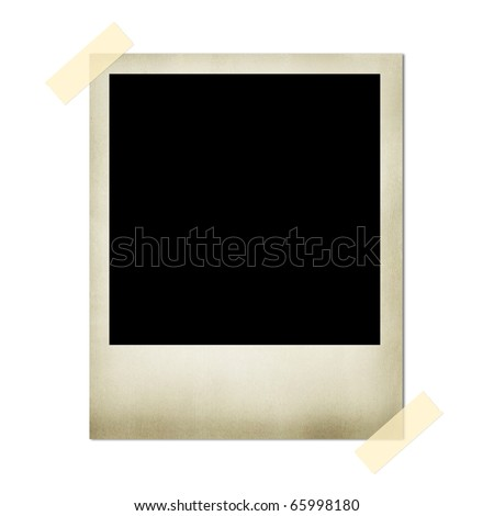 Blank picture with two pieces of tape - stock photo