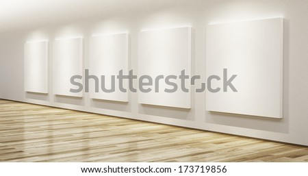 blank pictures in the gallery, 3d rendering - stock photo