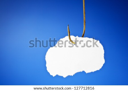 Blank piece of paper hanging on a fishing hook on blue background. - stock photo