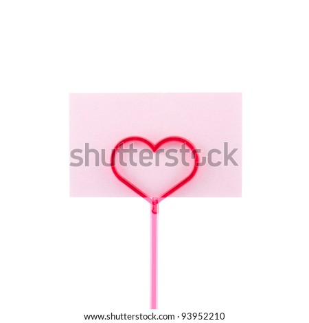 Blank pink card with heart isolated on white background - stock photo