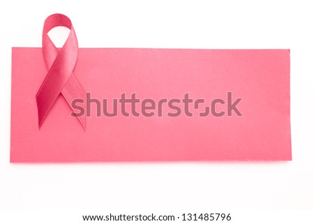 Blank pink card with pink ribbon for breast cancer awareness