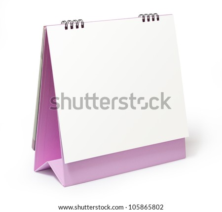 blank pink desktop calendar on white background - stock photo