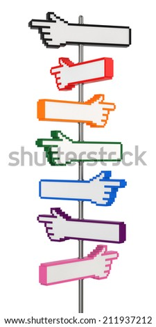 Blank Pixel Hand Signpost. Digitally Generated Image isolated on white background. 3D Rendering - stock photo