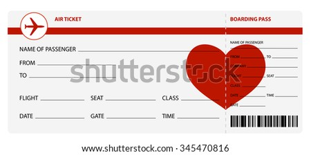 Blank plane tickets for romantic trip isolated on white background - stock photo