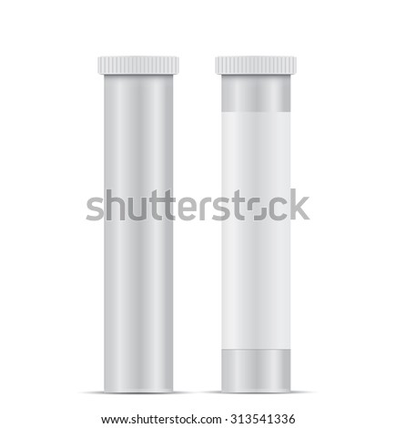 Blank Plastic Packaging Bottle with Cap for Pills Isolated on White Background - stock photo