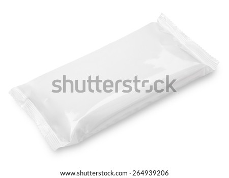 Blank plastic pouch food packaging isolated on white background - stock photo