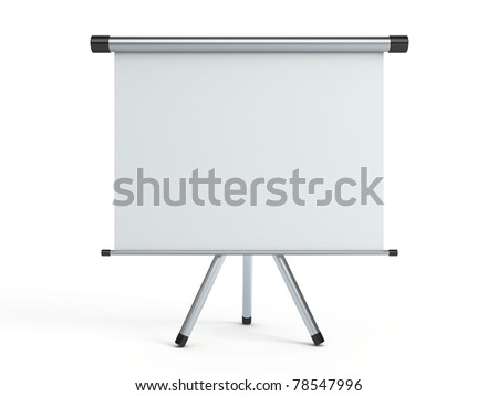 Blank portable projection screen - stock photo