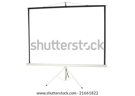 Blank portable projector screen isolated on white - stock photo