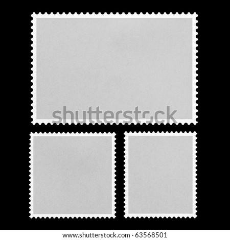Blank Postage Stamp Framed on Black. - stock photo