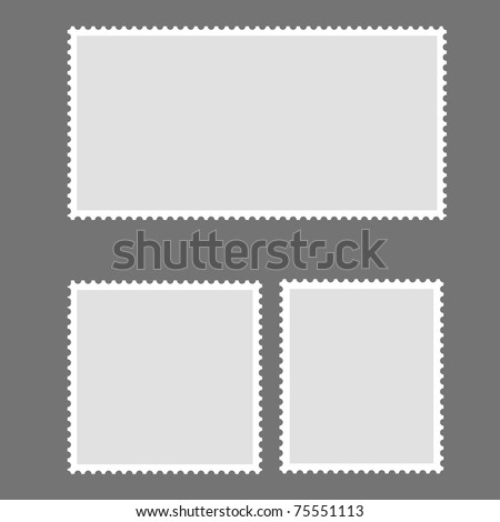 Blank Postage Stamp Framed on gray - stock photo