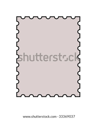 Blank postage stamp with copy space in center, isolated on white background.