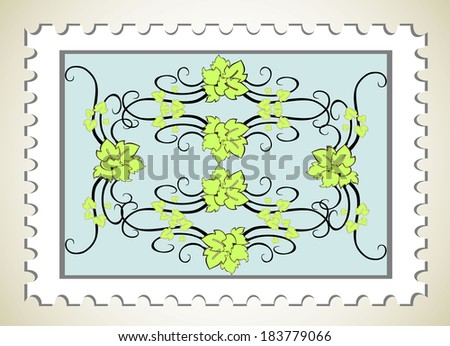 blank postage stamps - stock photo