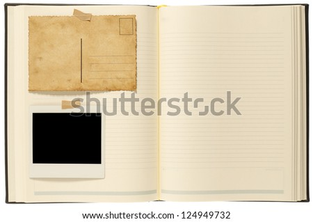 Blank postcard, instant photo and notion book - stock photo