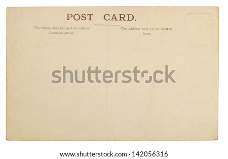 Blank Postcard Rear Isolated on White - stock photo