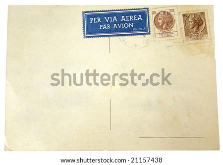 Blank Postcard with Italian postage stamps - space for text - stock photo