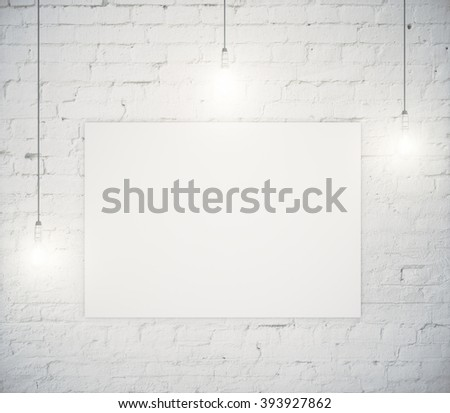 Blank poster hanging on a white brick wall with three light bulbs. Mock up, 3D Render - stock photo