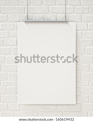 blank poster hanging on the white brick wall, background - stock photo
