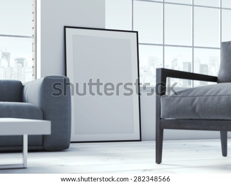 Blank poster in interior. 3d rendering - stock photo