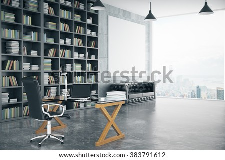 Blank poster in loft private office with book case, leather sofa, glassy table and big window, mock up, 3D render - stock photo