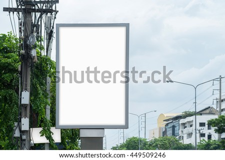 blank Poster Mockup Template in Bangkok, Blank space with clipping path