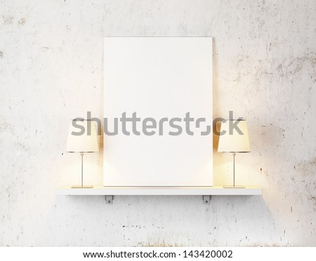 blank poster on a shelf   - stock photo