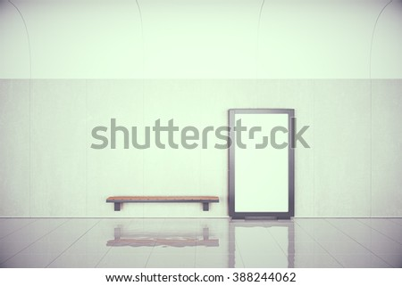 Blank poster on the wall and wooden bench in empty hall, mock up, 3D Render - stock photo
