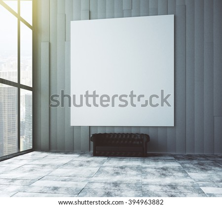 Blank poster on the wall in empty room with leather sofa and big windows, mock up, 3D Render - stock photo