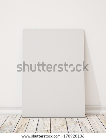 blank poster on the white wall and the wooden floor, background