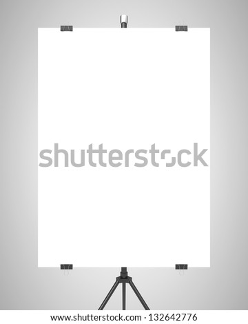 blank poster on tripod on gray background - stock photo