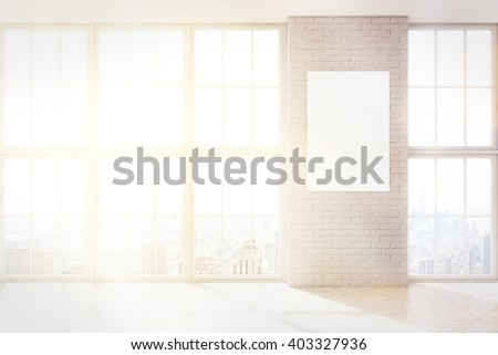 Blank poster on white brick wall. Panoramic windows on both sides. Toned, filter. Concept of information. Mock up. 3D rendering - stock photo