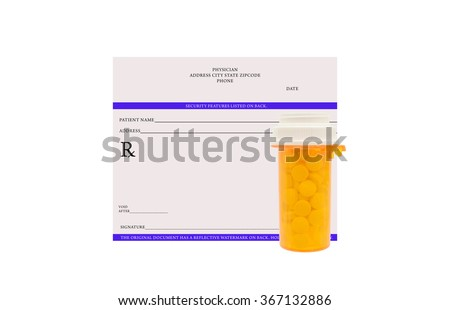 Blank Prescription with bottle of prescription drugs isolated on white background