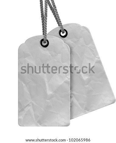 Blank price tag isolated on white background with copy space and path. - stock photo