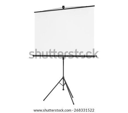 Blank Projection Screen on a white background - stock photo