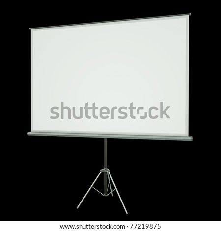 Blank projection screen over black background. 3D rendered image - stock photo