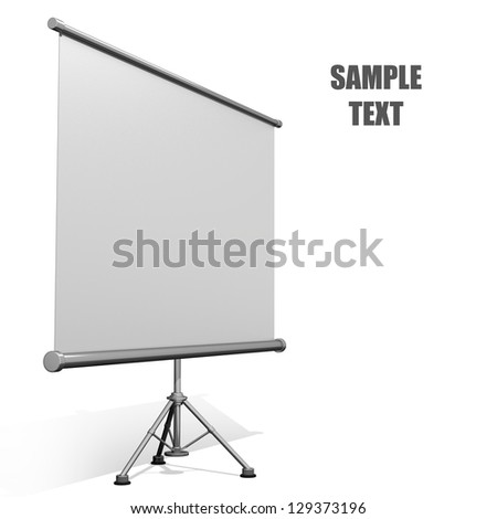 Blank projection screen with tripod isolated on white background High resolution 3d render