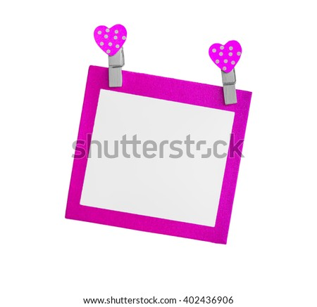 Blank purple paper isolated use for insert text isolated on white background. - stock photo