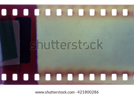 Blank purple vibrant noisy film strip texture background - stock photo