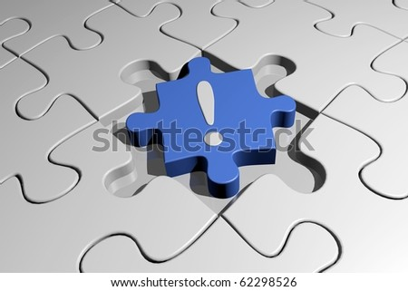 Blank puzzle with blue exclamation point piece