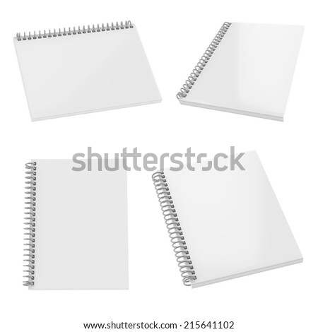 Blank realistic spiral notepad set isolated on white. Easy editable for your design. - stock photo