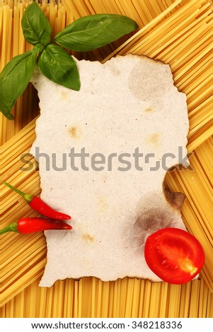 blank recipe page cooking pasta  - stock photo