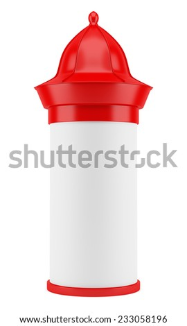 blank red advertising column isolated on white background - stock photo