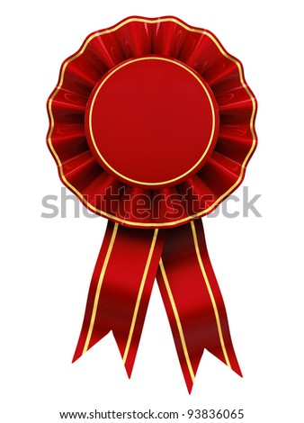 Blank red and gold rosette , isolated on white - stock photo