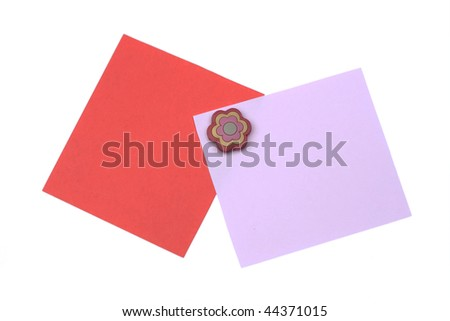 blank red and pink note with magnet - stock photo