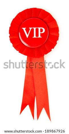 Blank red award winning ribbon rosette isolated on white background - stock photo